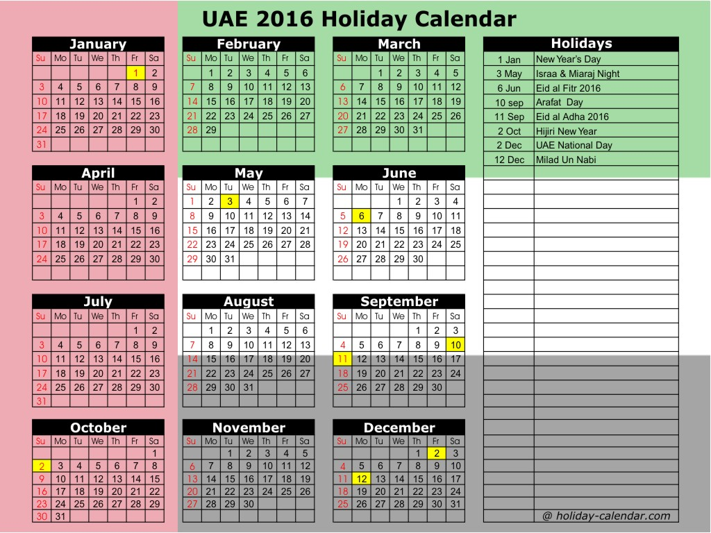 December 2016 Holidays UAE