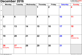 December 2016 Holidays UK