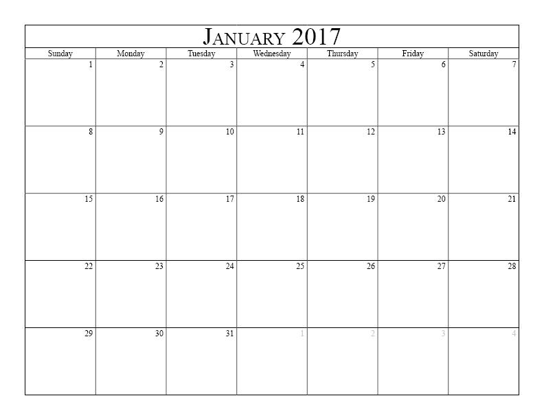 january 2017 calendar printable pdf