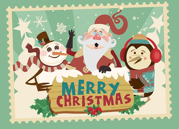 merry christmas cartoon characters