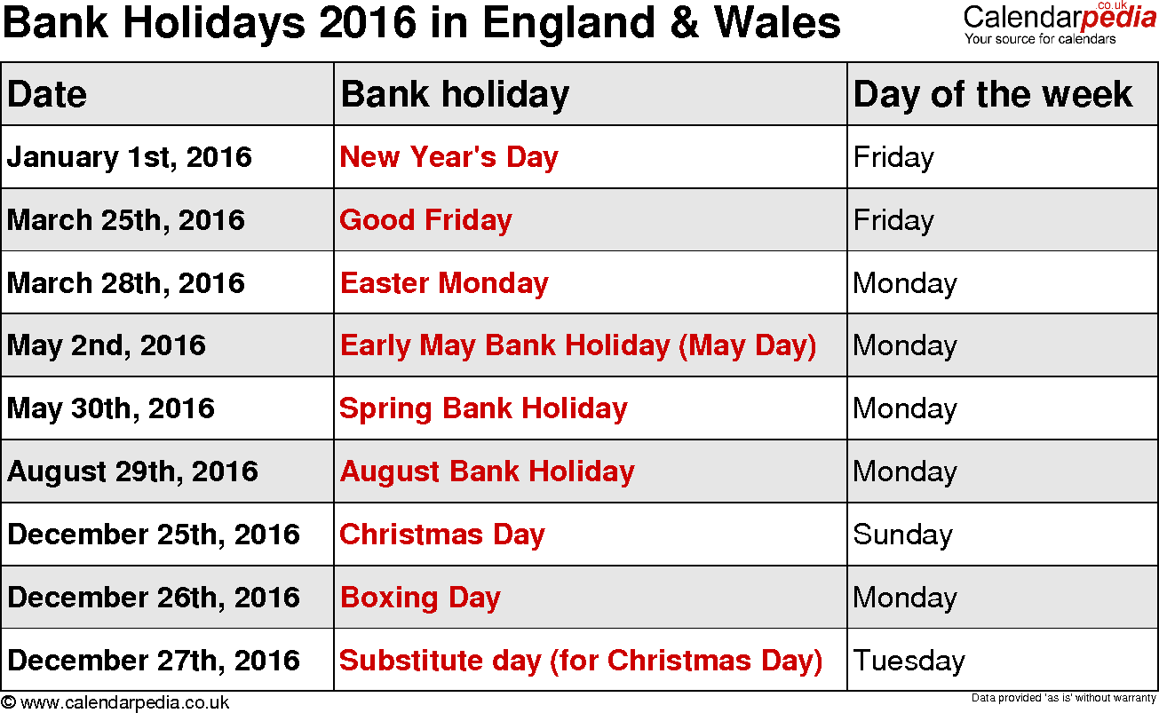 School Holidays December 2016 UK