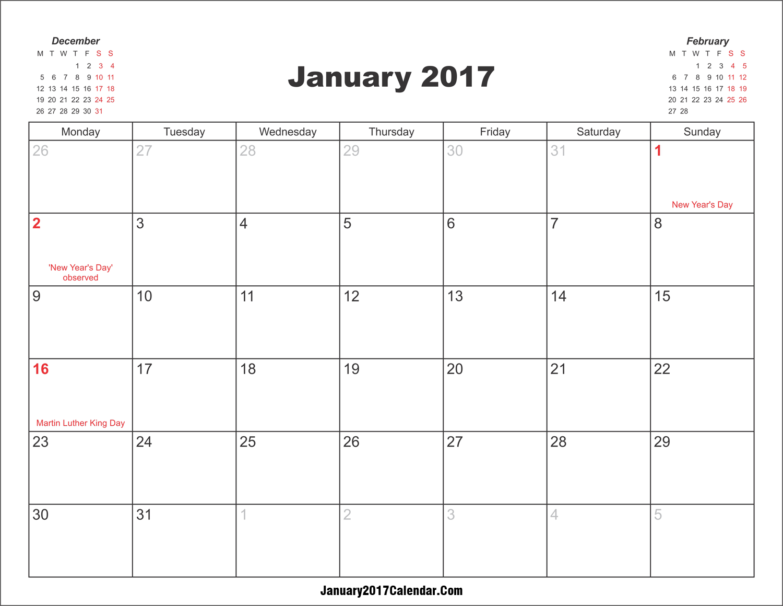 calendar template printable 2017