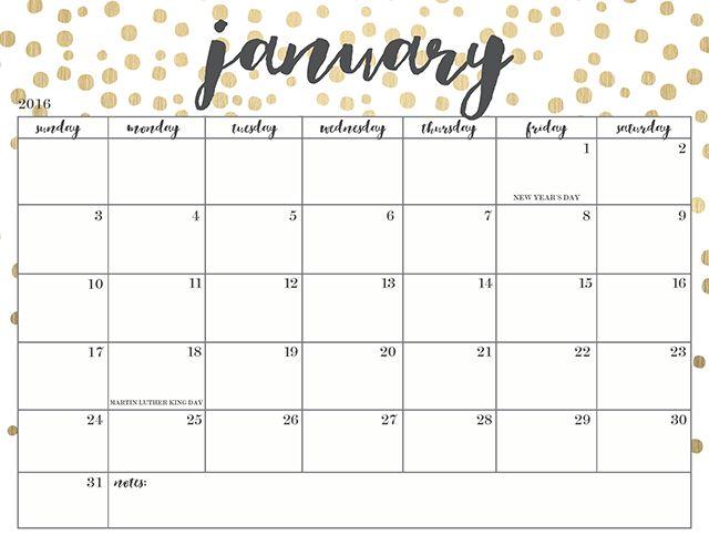 January 2017 Calendar Cute