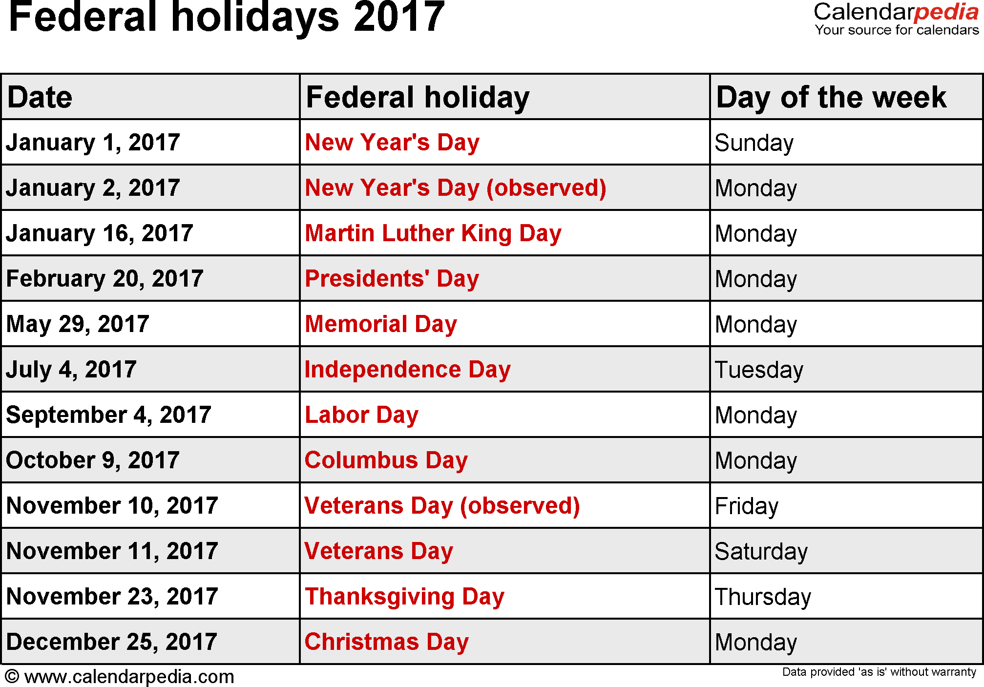 January 2017 Calendar with Holidays USA