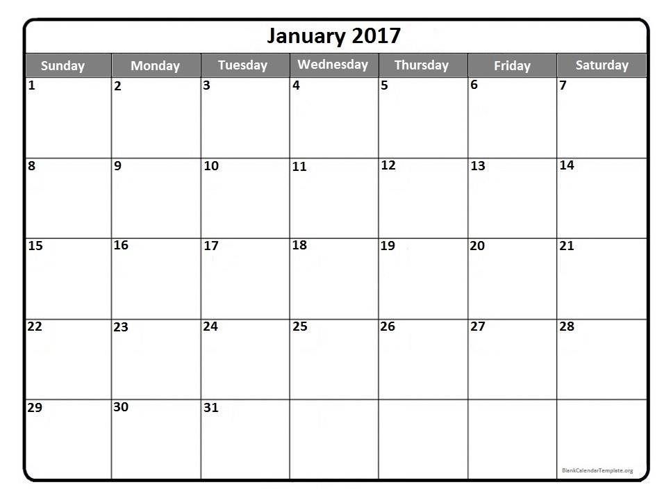 January 2017 printable calendar template