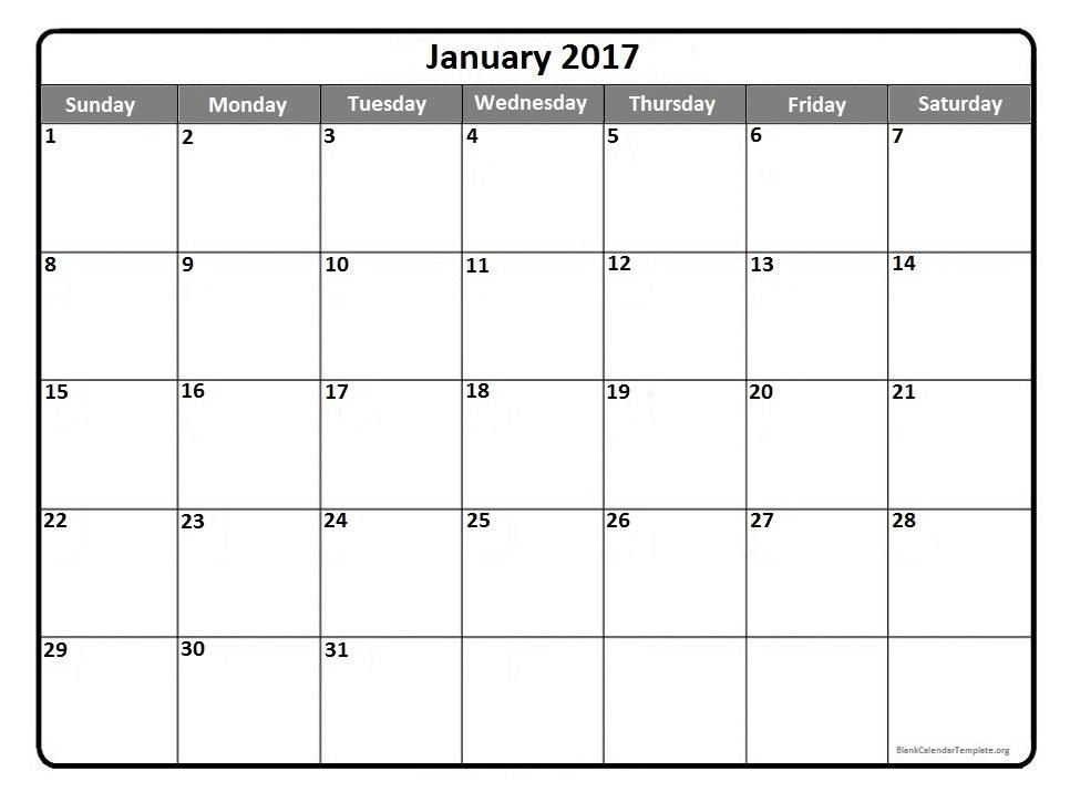 January 2017 printable calendar template