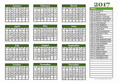 Jewish 2017 Holidays Printable calendar Templates