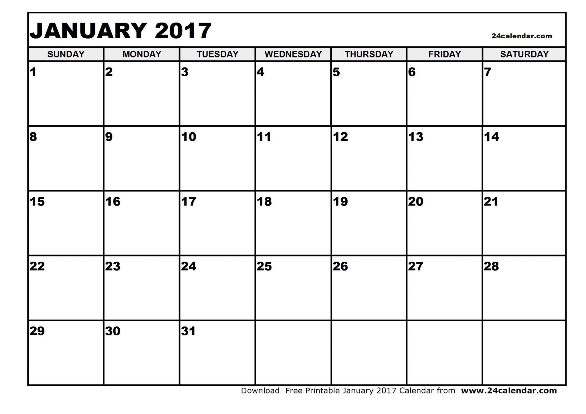 blank calendar 2017 january 2017 calendar