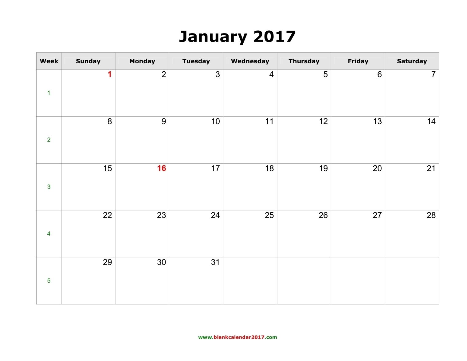 blank calendar january 2017 landscape