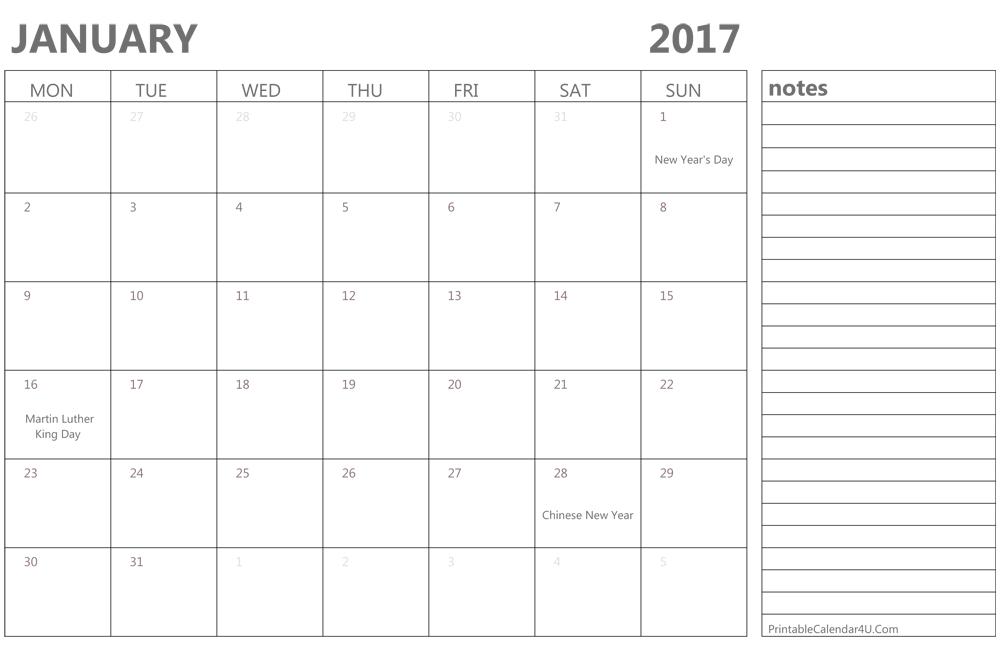 blank january 2017 calendar pdf