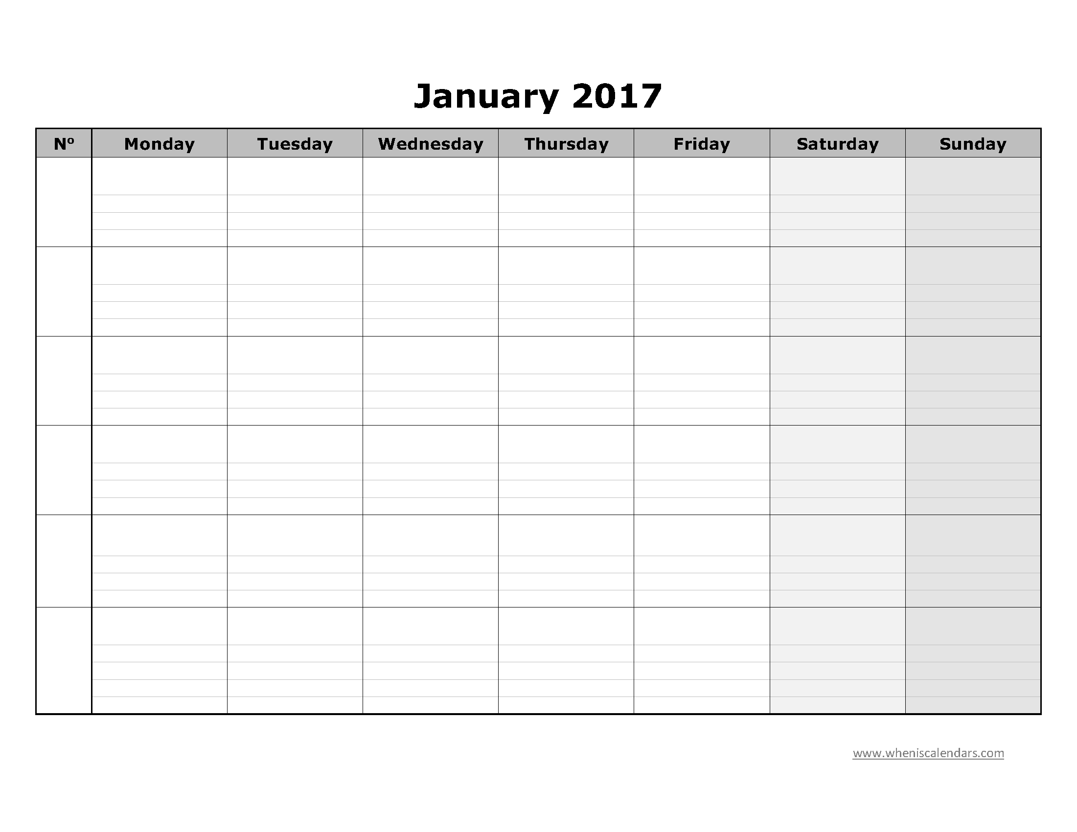 blank january 2017 calendar templates printable pdf. Black Bedroom Furniture Sets. Home Design Ideas