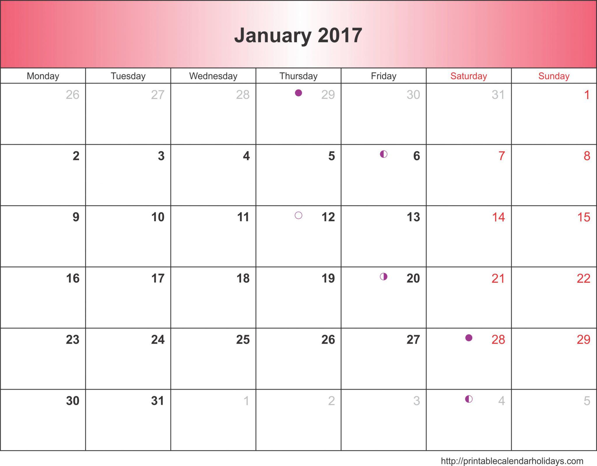 free january 2017 calendar template