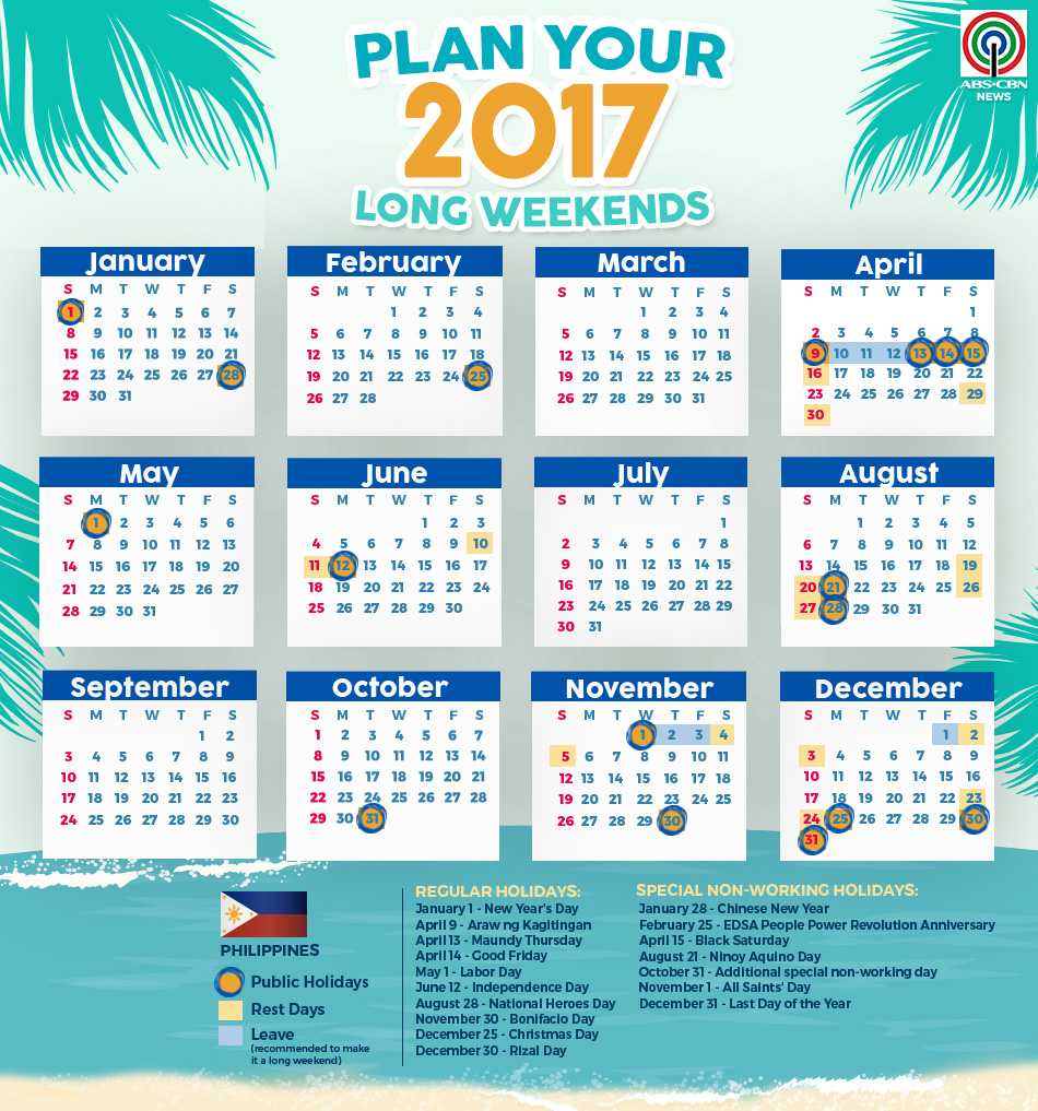 january 2017 calendar with holidays philippines
