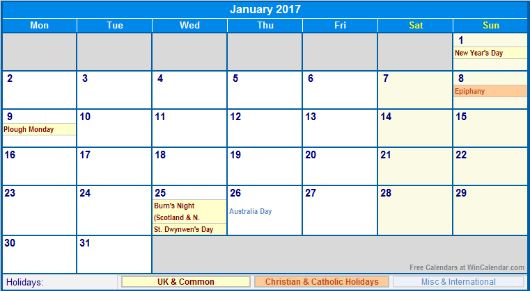 january 2017 calendar with holidays uk