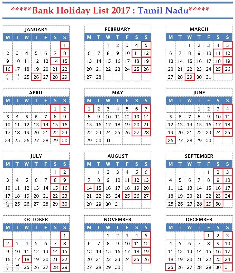 january 2017 holidays in tamilnadu