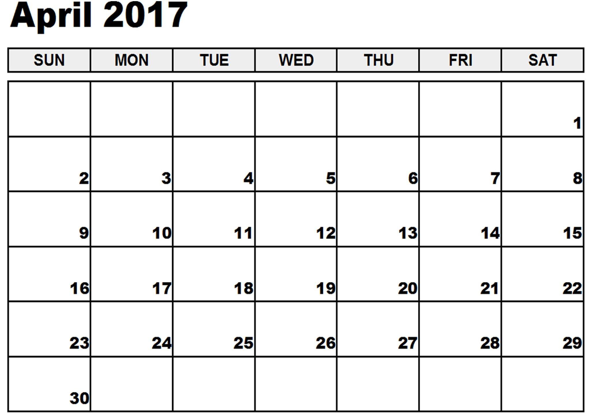 2017 April Printable Calendar