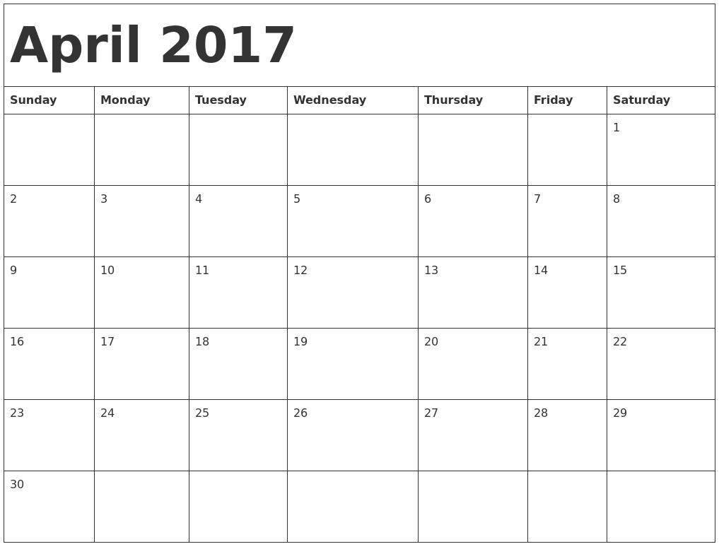 April 2017 Calendar Doc