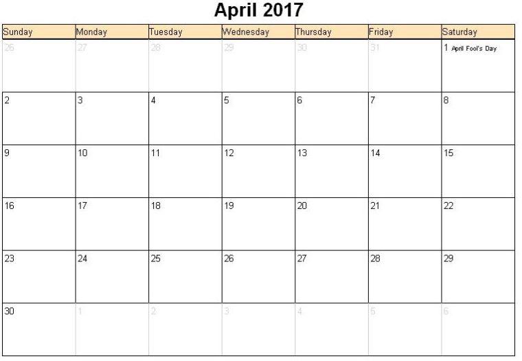 April 2017 Calendar Excel