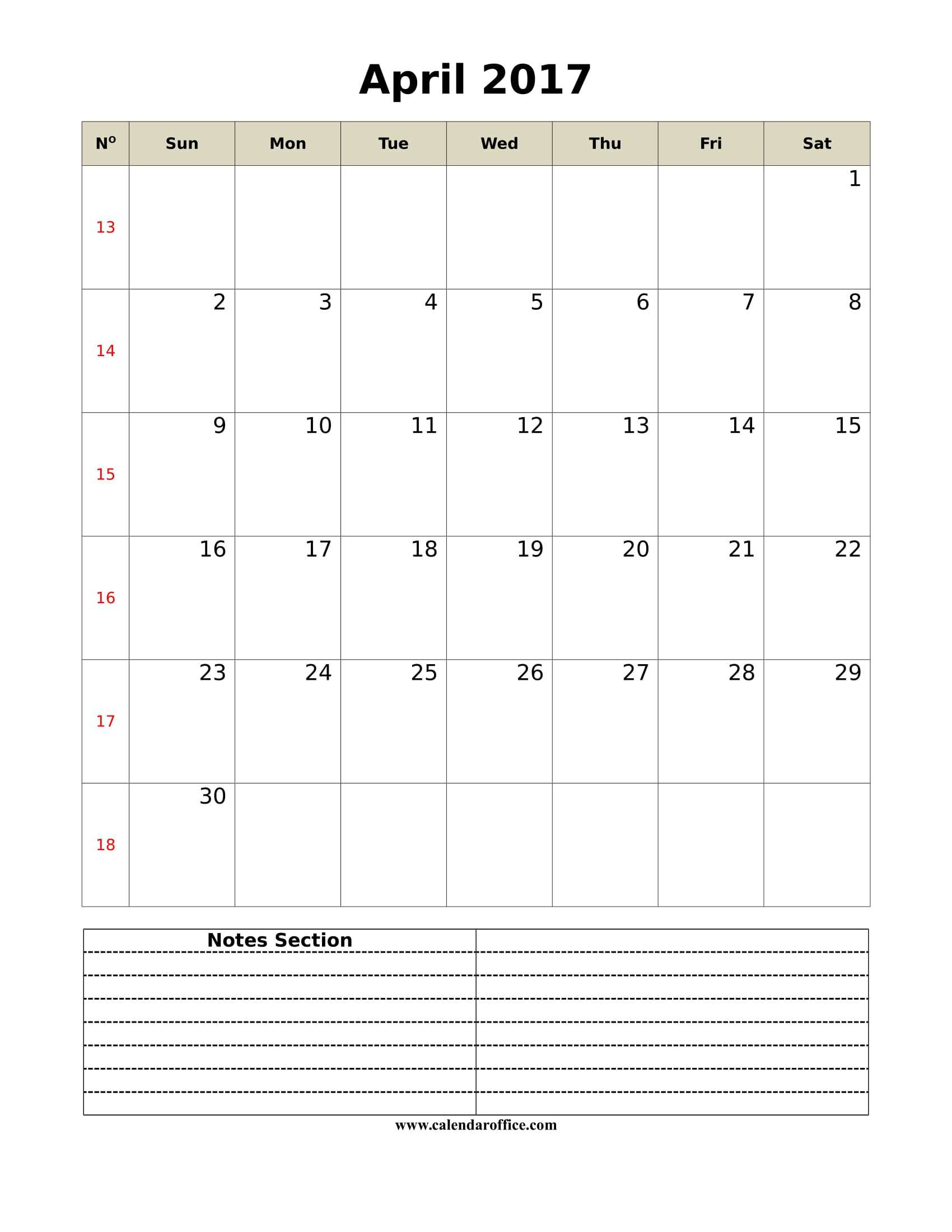 April 2017 Calendar Printable Portrait