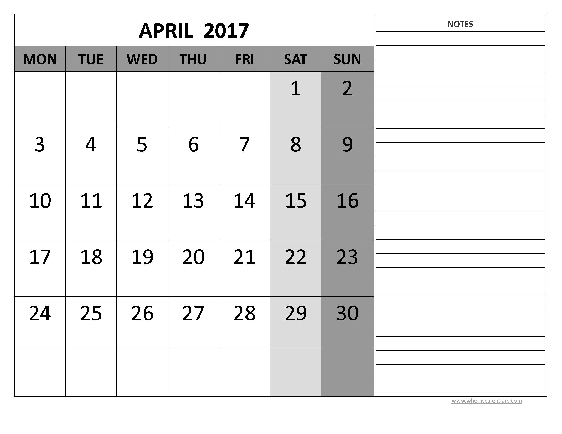 April 2017 Printable Calendar Word