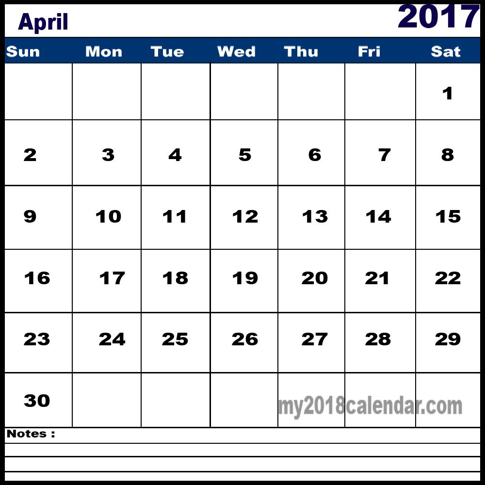 April 2017 calendar notes template - Free April 2017 Calendar Printable Word PDF Doc Excel Notes Landscape Portrait