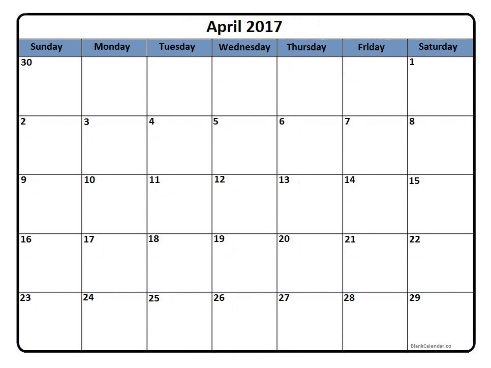 April 2017 calendar template printout
