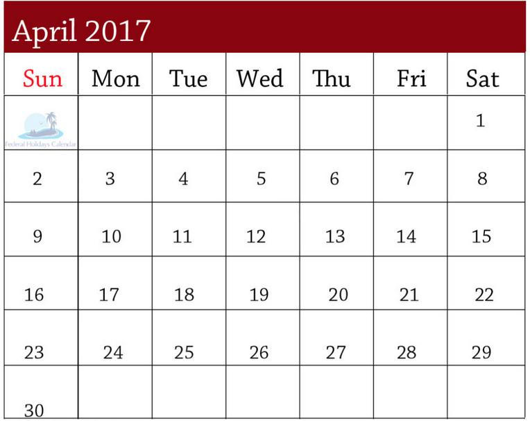 Cute April Calendar 2017