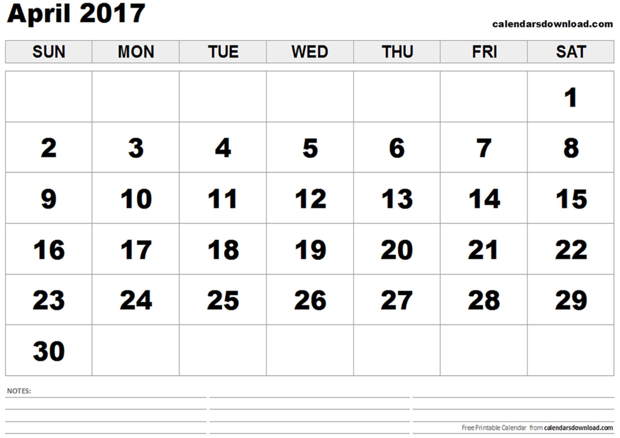 Printable April 2017 Calendar Download