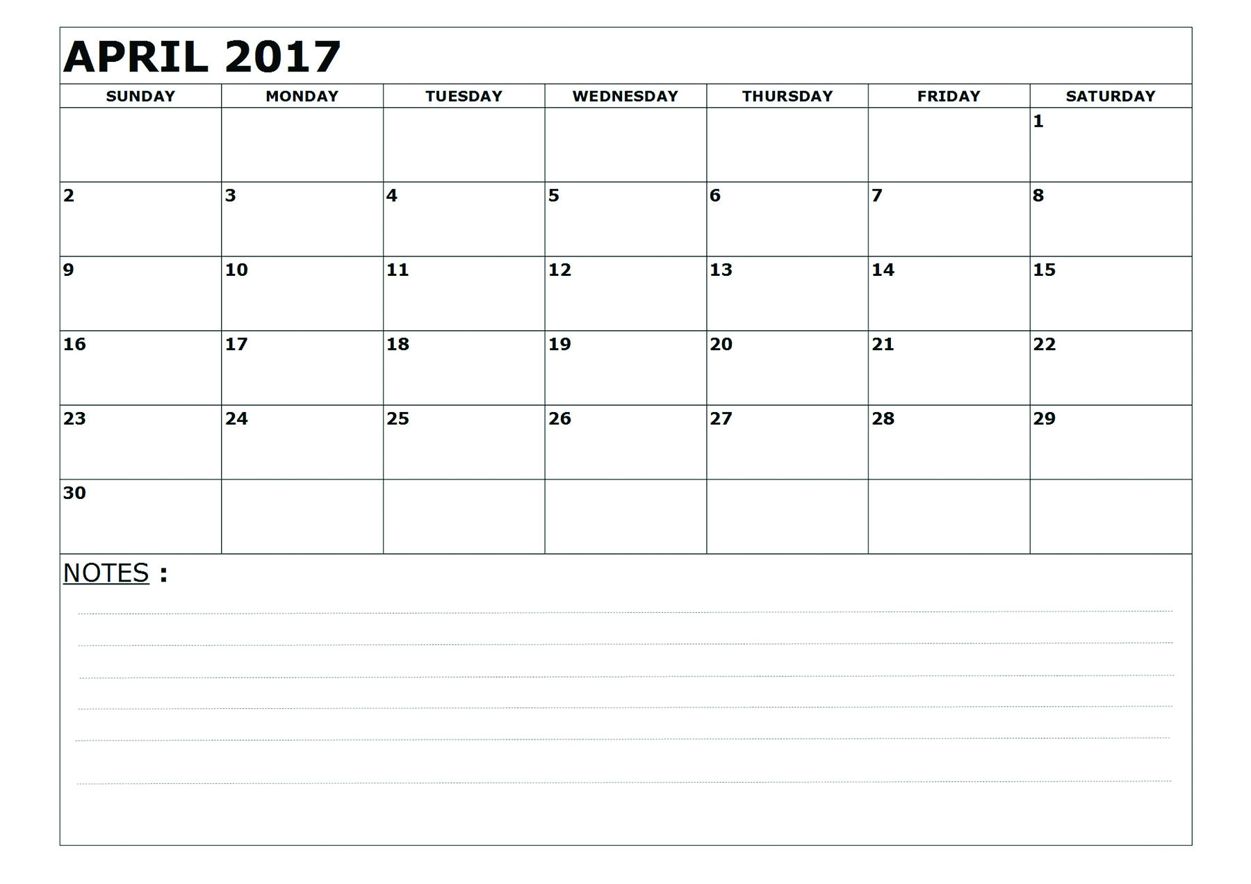Printable April 2017 Calendar With space for notes as PDF , Word , Image