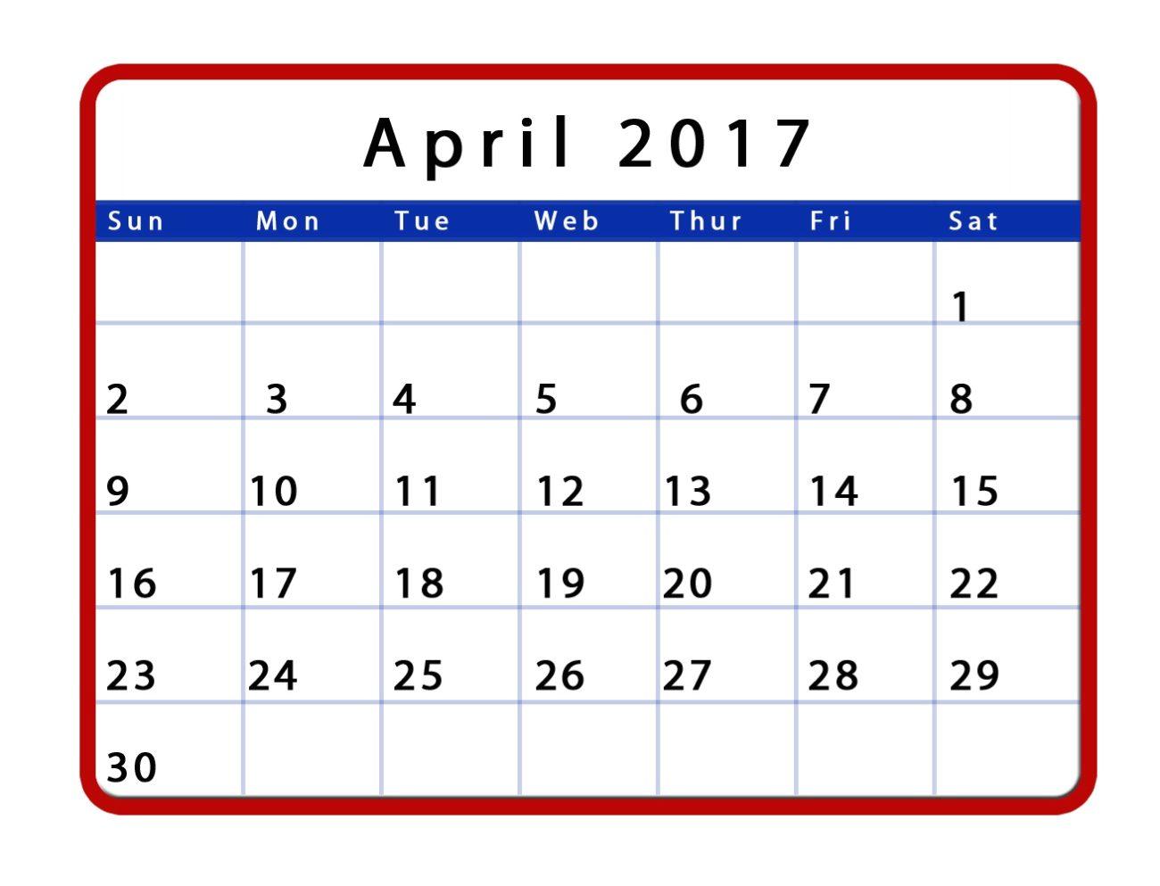 april 2017 calendar canada