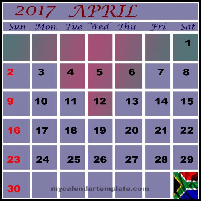 april 2017 calendar south africa