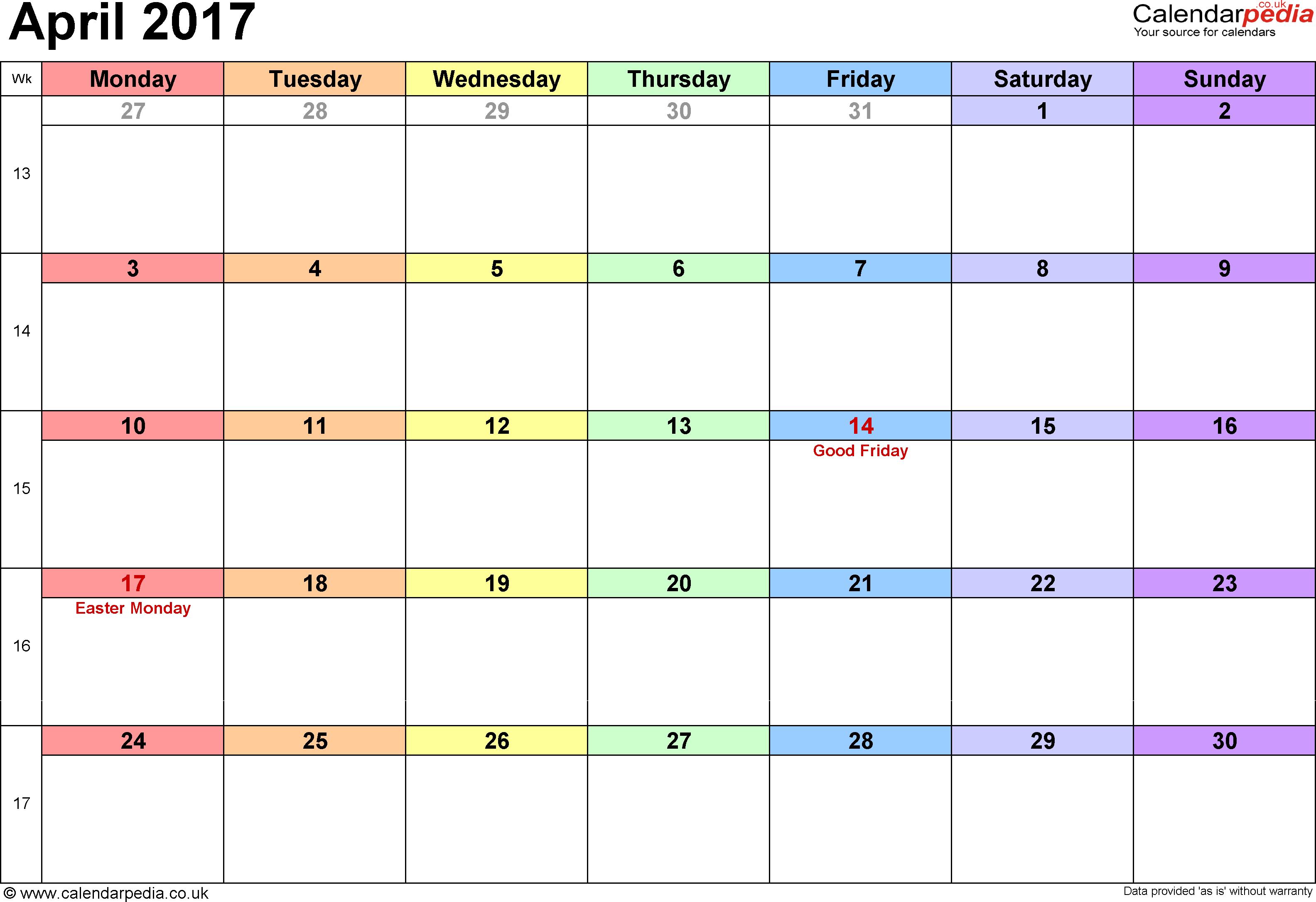 april 2017 calendar uk