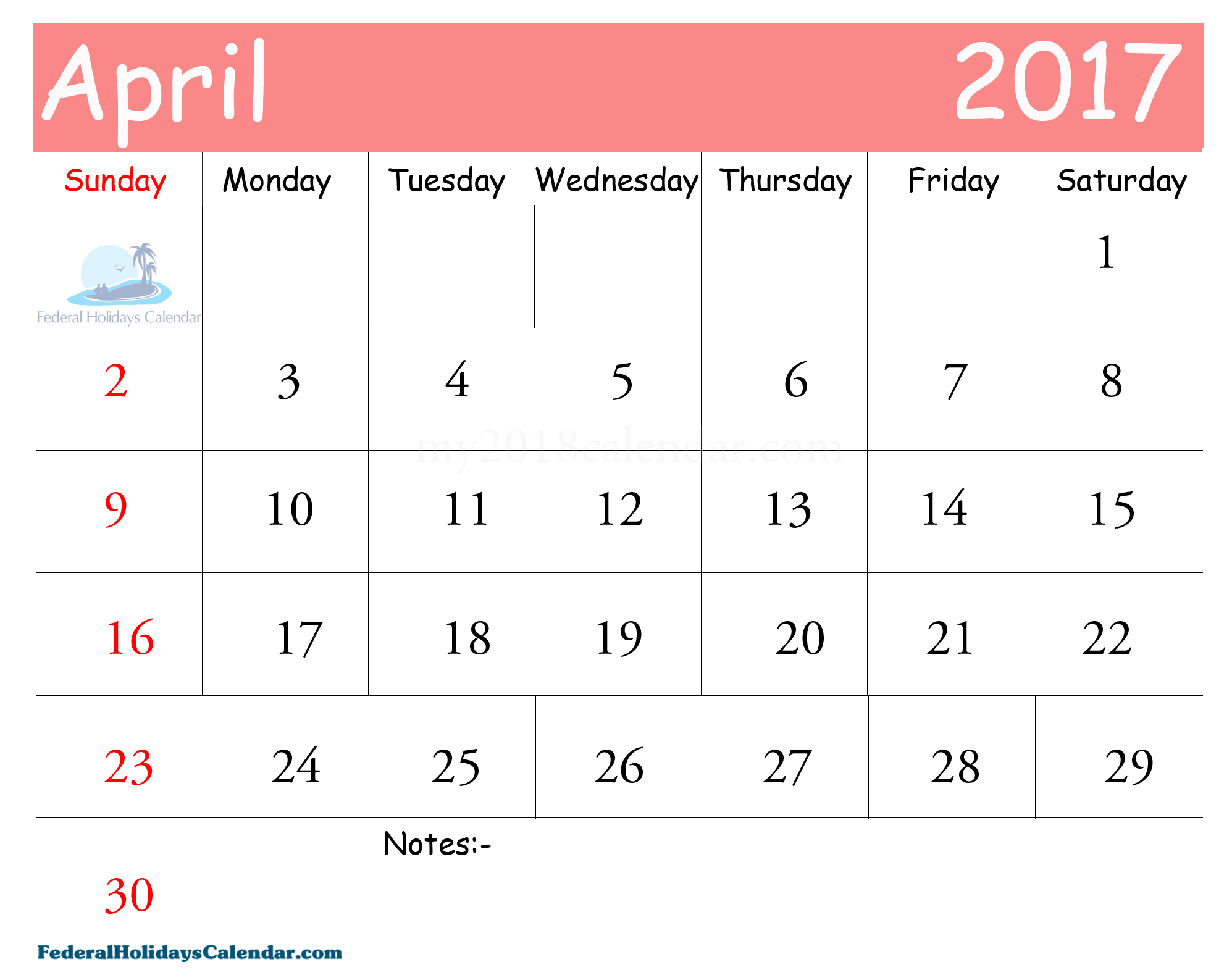 april 2017 calendar usa