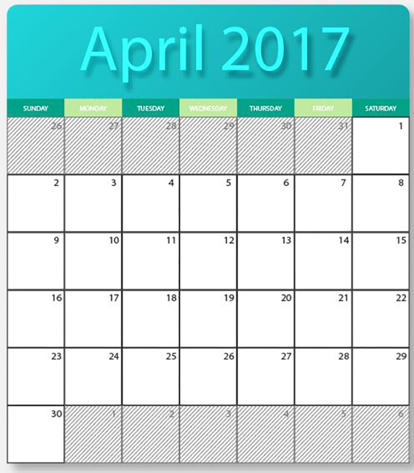 april 2017 printable calendar cute