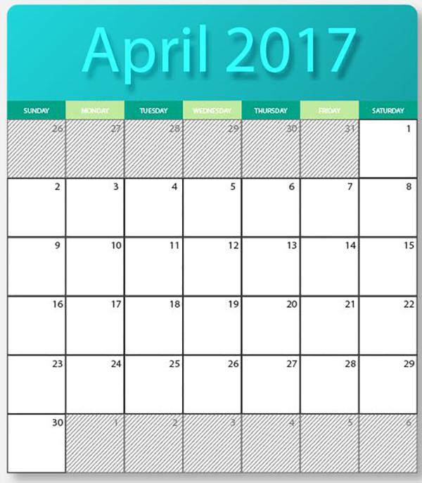 april 2017 printable calendar cute