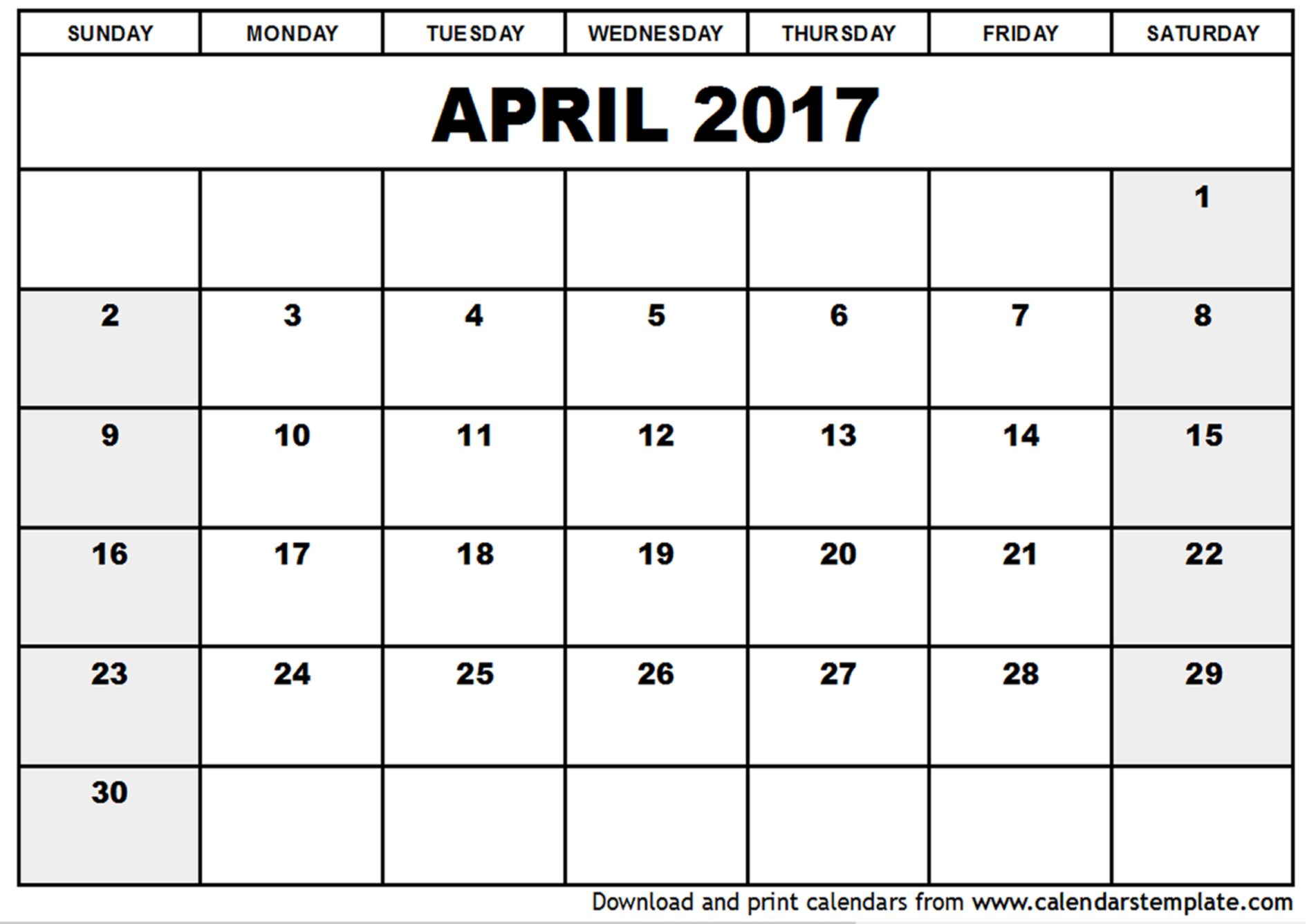 april 2017 printable calendar free