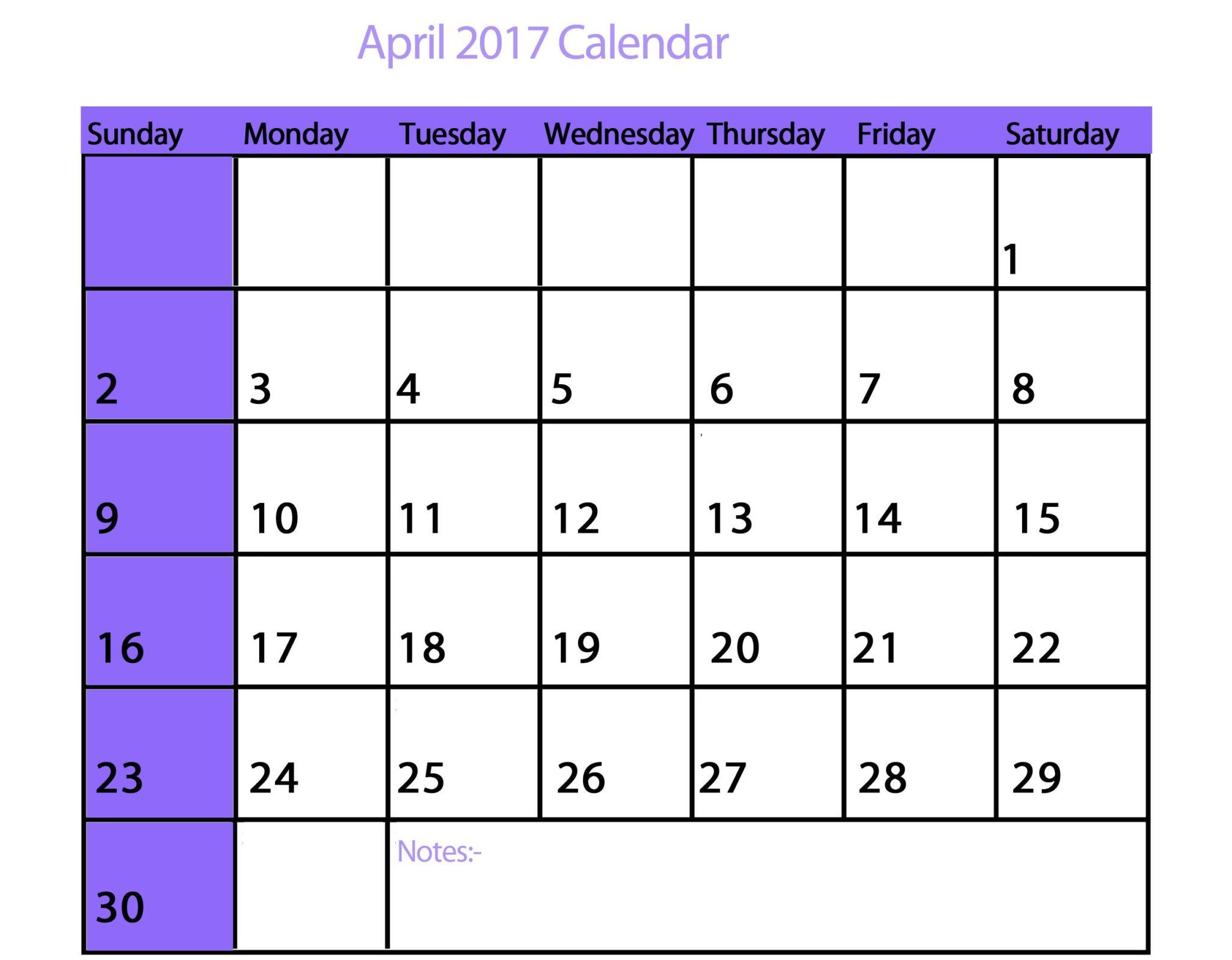 april 2017 printable calendar pdf