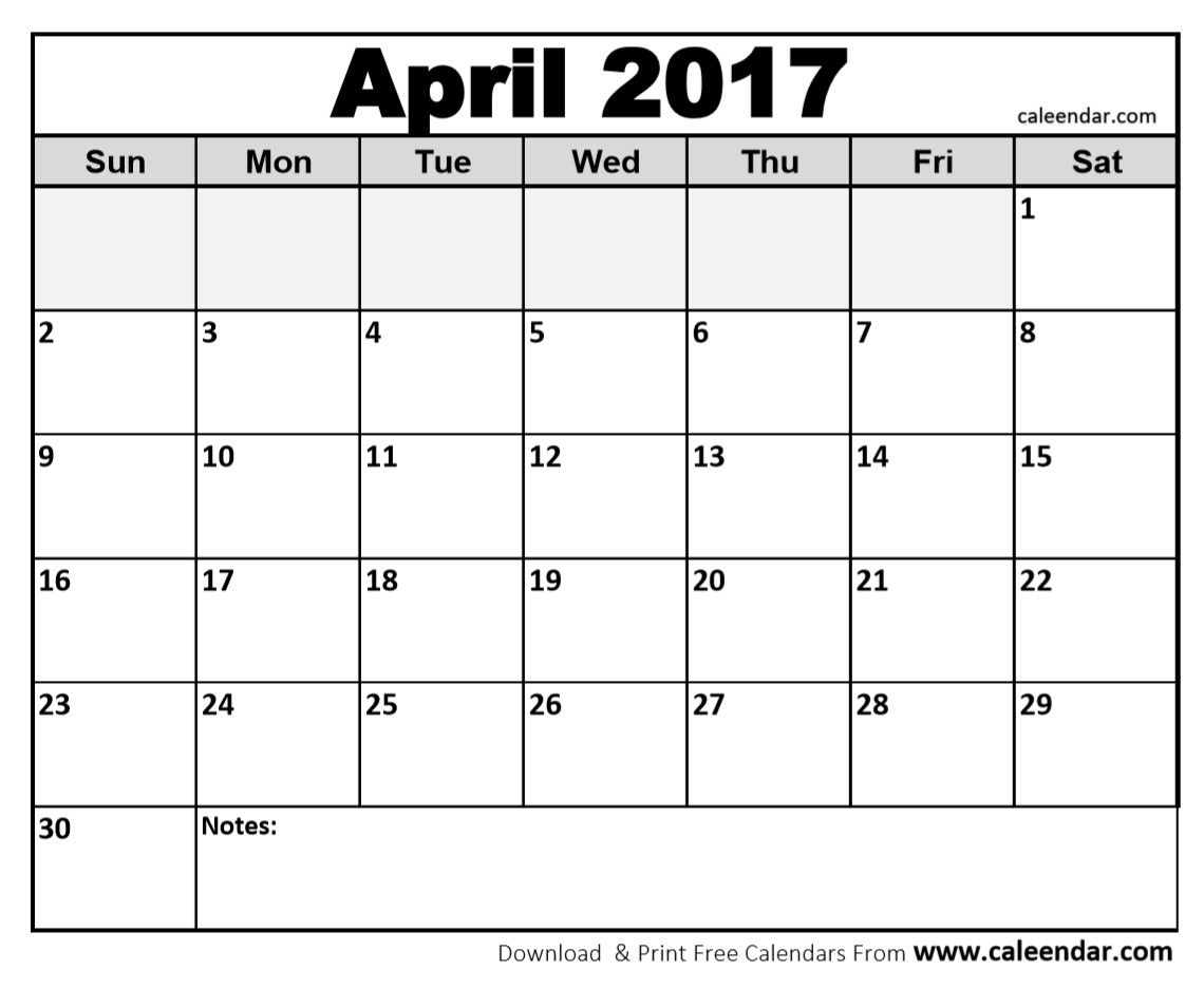 Free April 2017 Calendar Printable Word PDF Doc Excel Notes