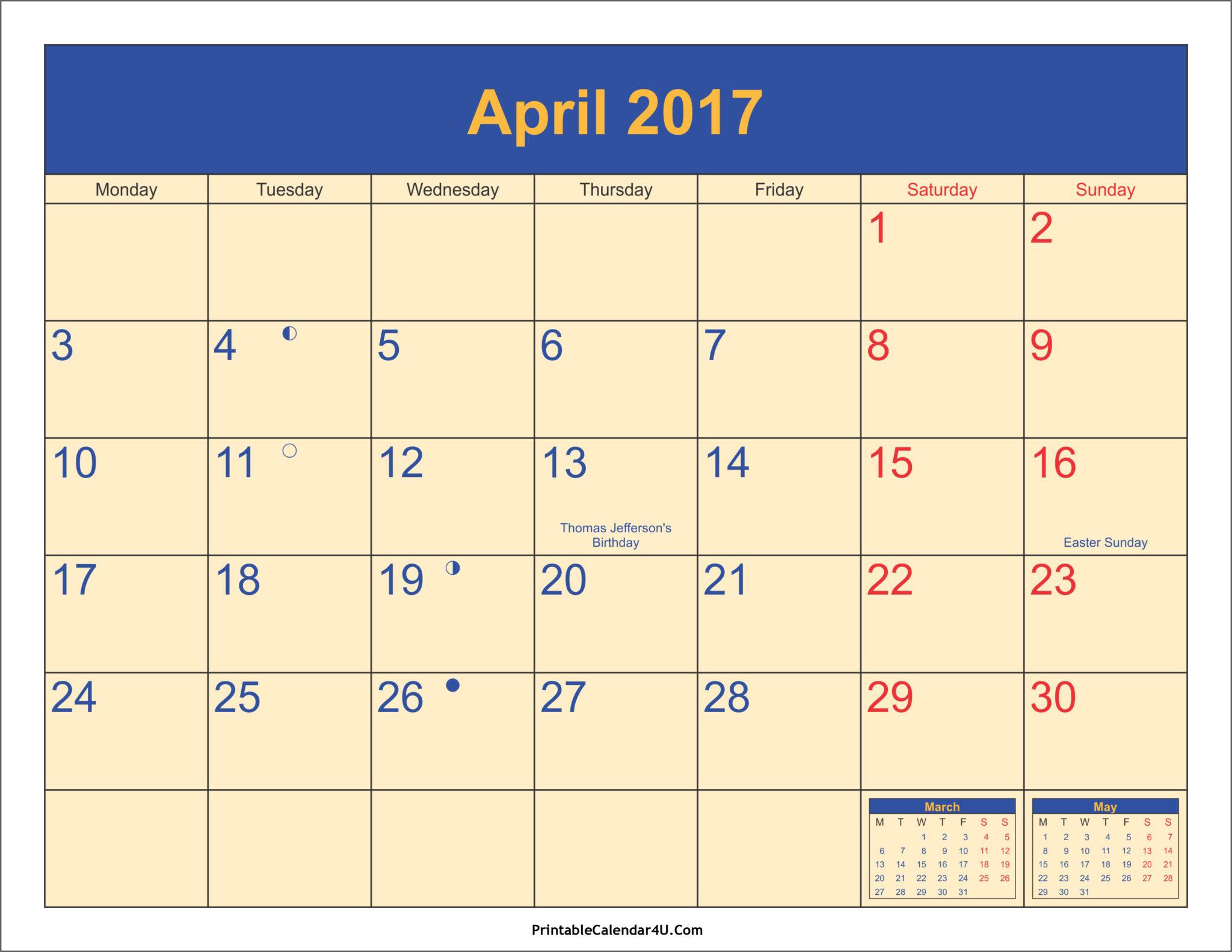 april 2017 printable calendar with holidays