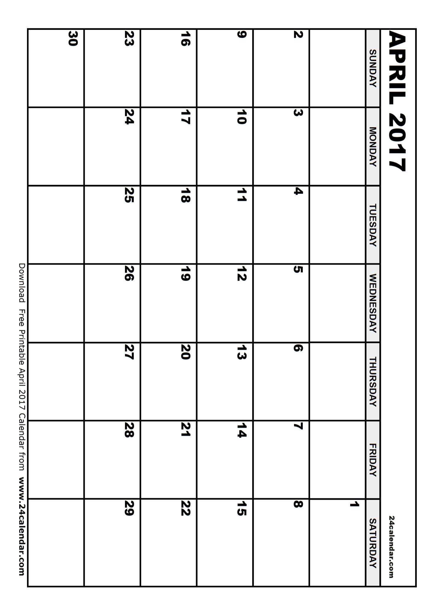 blank april 2017 calendar to print