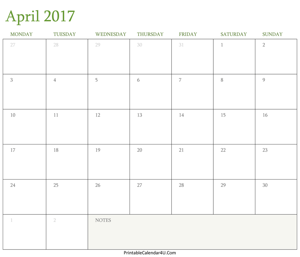 calendar april 2017 printable word