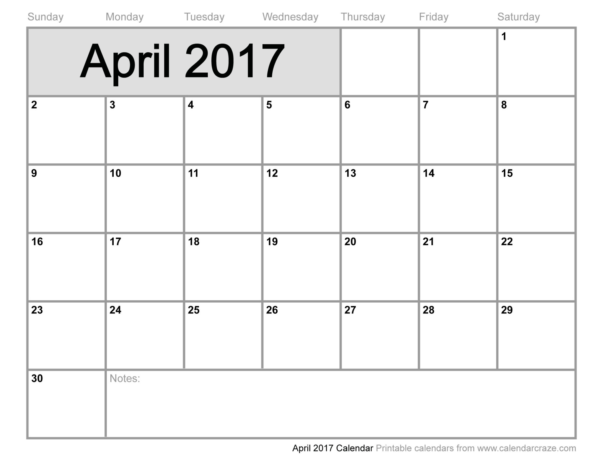 cute april 2017 calendar printable