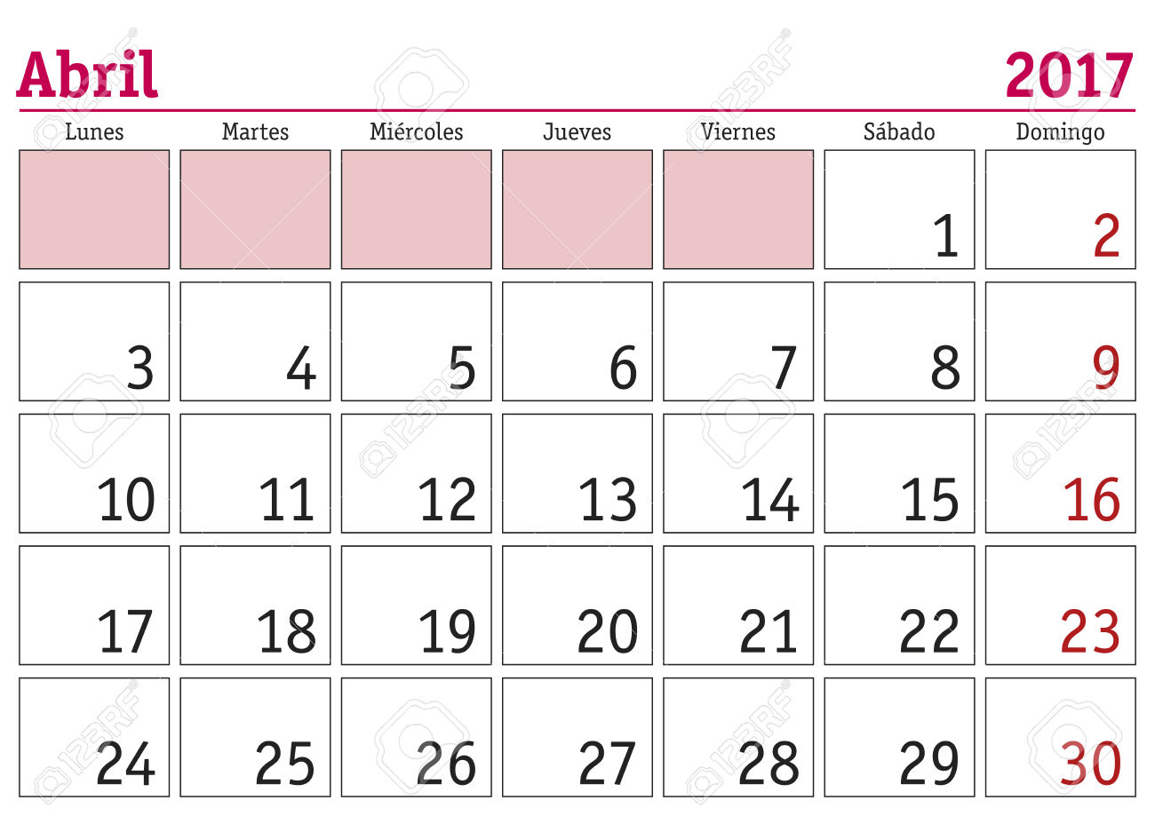 spanish calendar april 2017