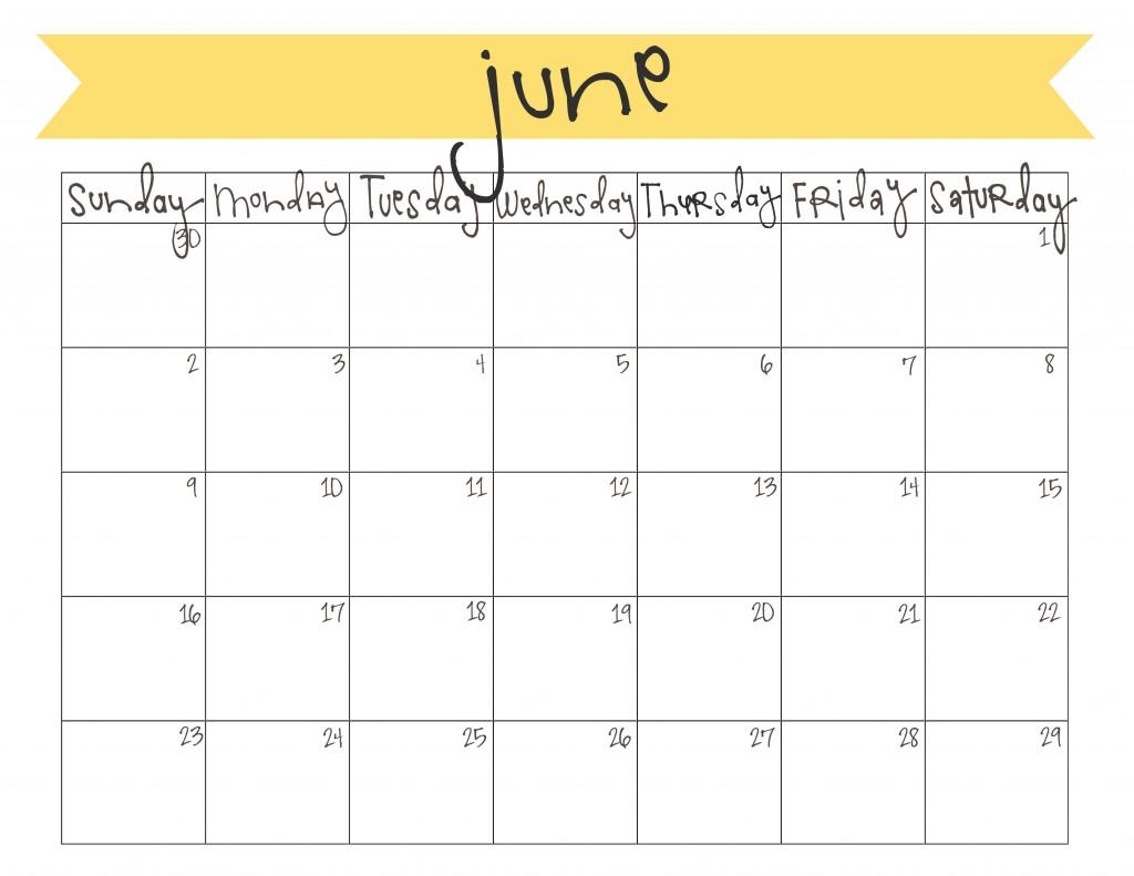 Calendar June 2017 Cute