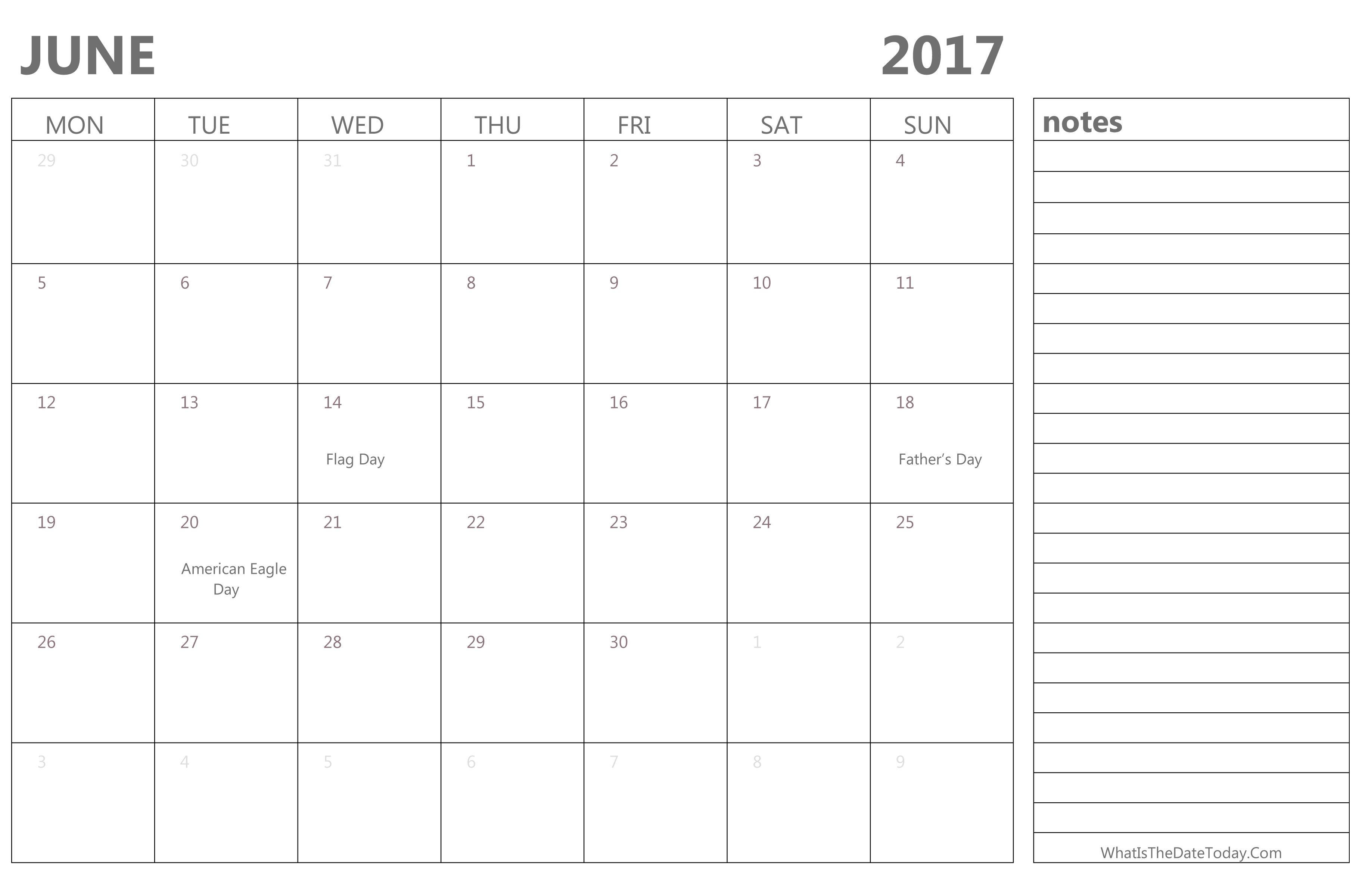 Editable June Calendar 2017