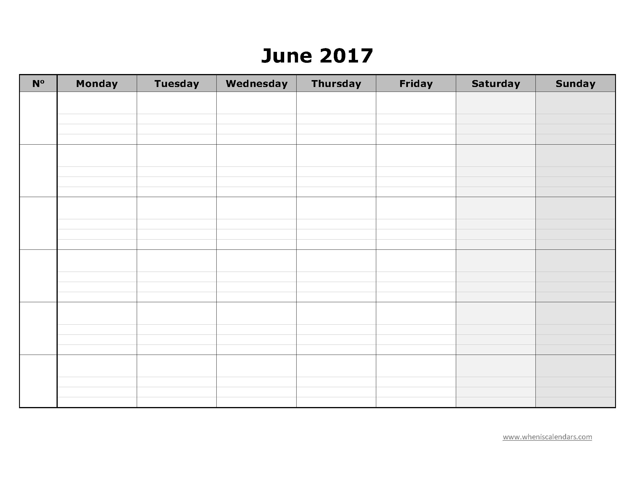 June Calendar 2017 Blank Notes