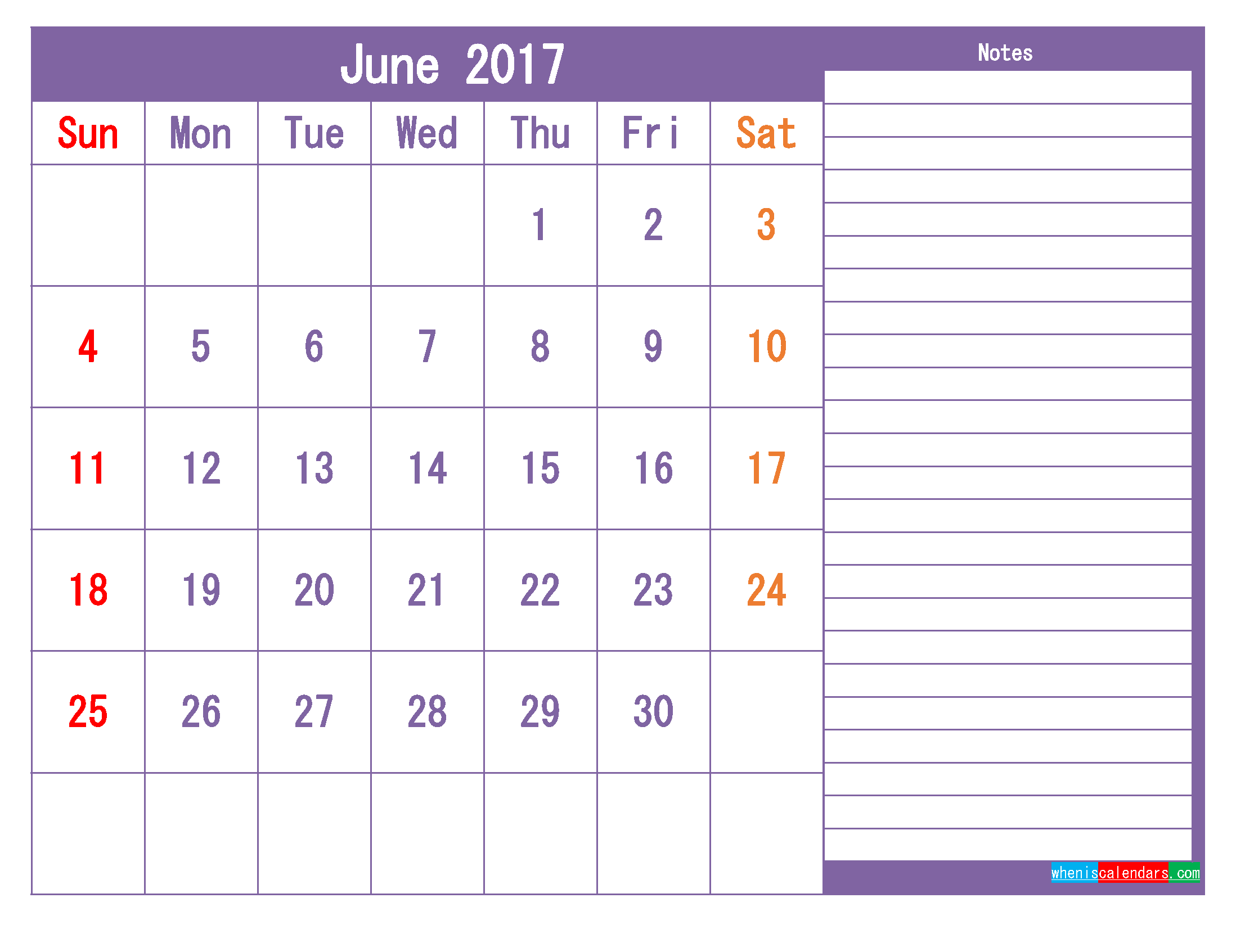 June Calendar 2017 Colorful