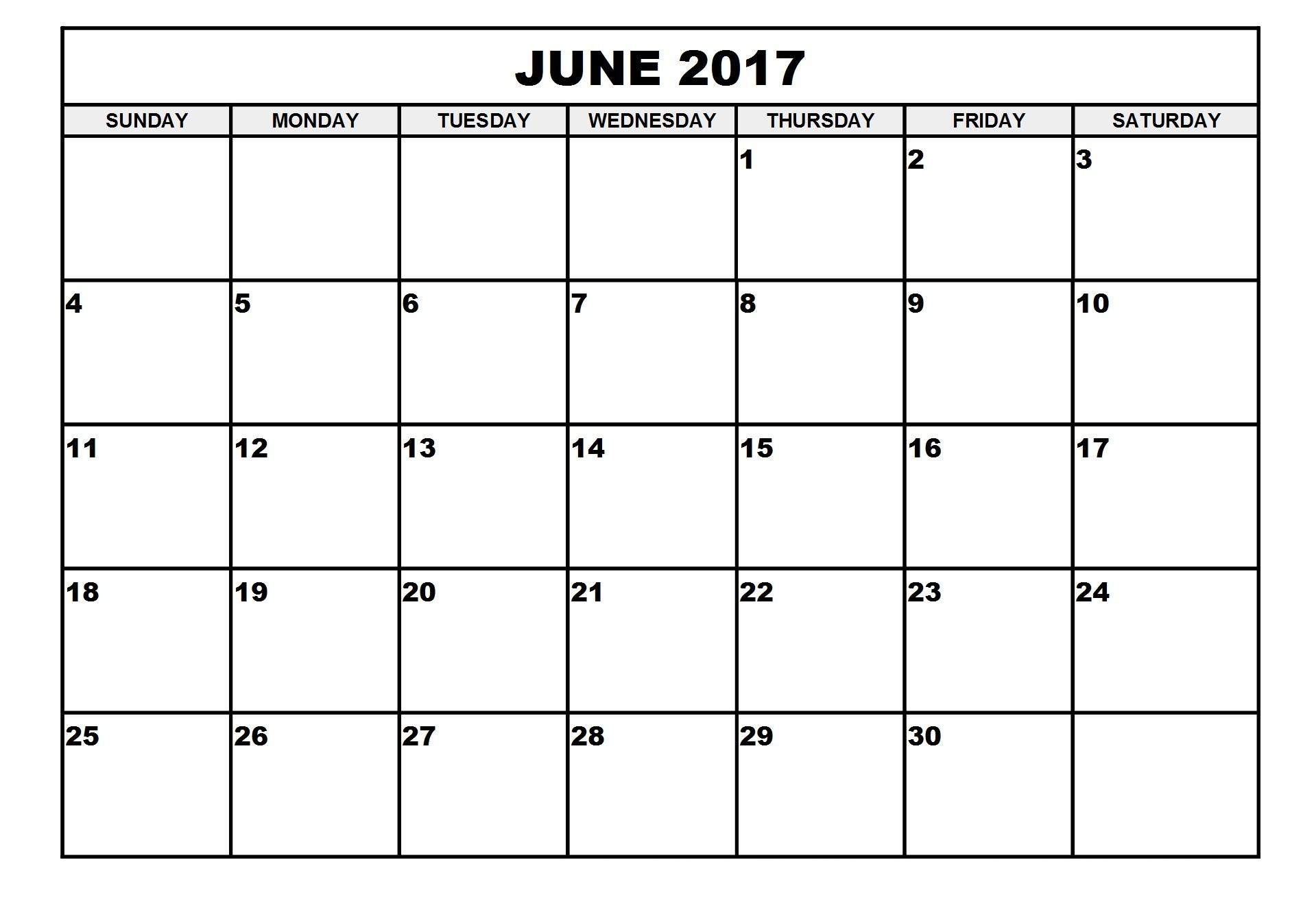 June Calendar 2017 Editable