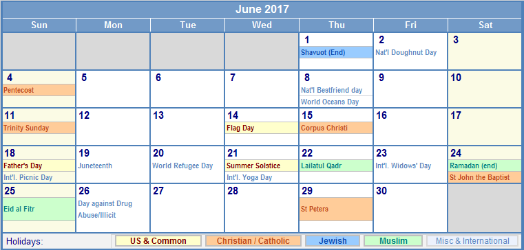 June Calendar 2017 with Holidays
