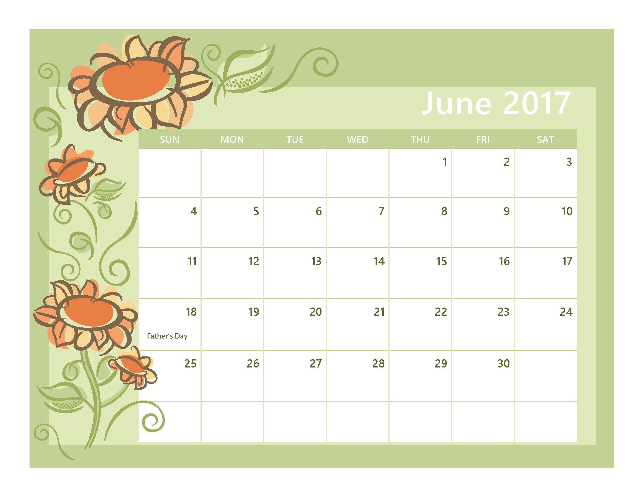 june calendar 2017 landscape